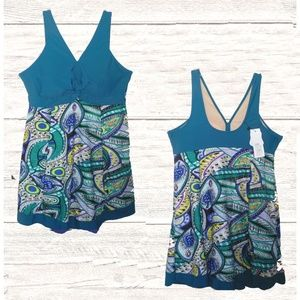 Other - NWT TURQUOISE PRINT SKIRTED SWIMSUIT